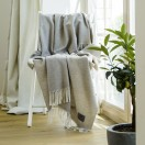 Silver Cashmere Throw Everest Herringbone