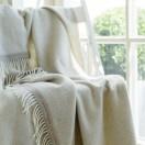 Beige/Red Cashmere Merino Wool Throw Everest Square