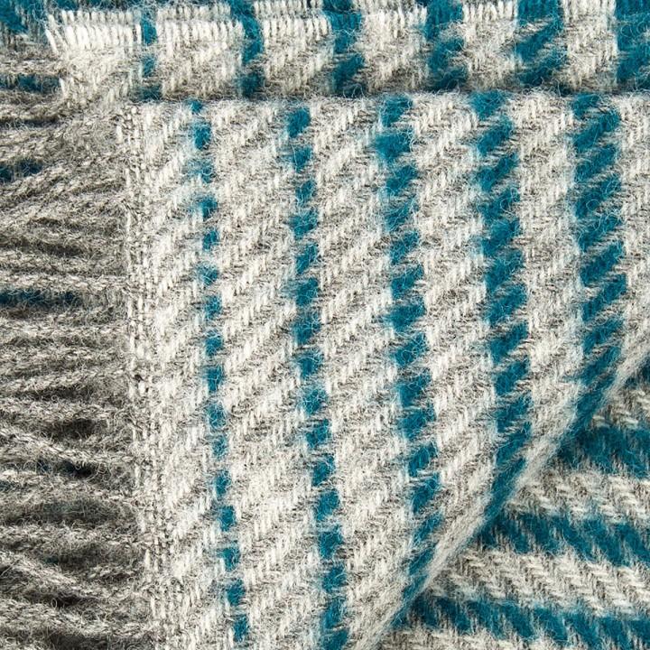 Grey Turquoise Wool Throw Alberto