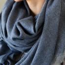 Navy Wool Shawl Salvatore