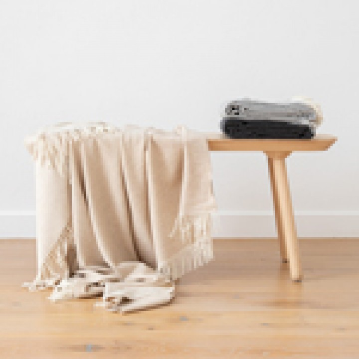 Cashmere Wool Throw Beige Ernesto