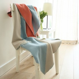 Blue/Coral Merino Wool Throw Marco