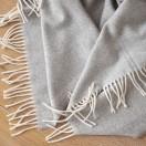 Cashmere Wool Throw Silver Ernesto Herringbone