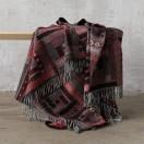 Red Black Merino Wool Throw Marta