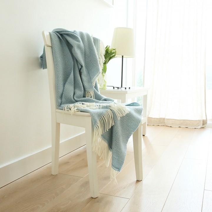 Stone Blue Merino Wool Throw Rhomb