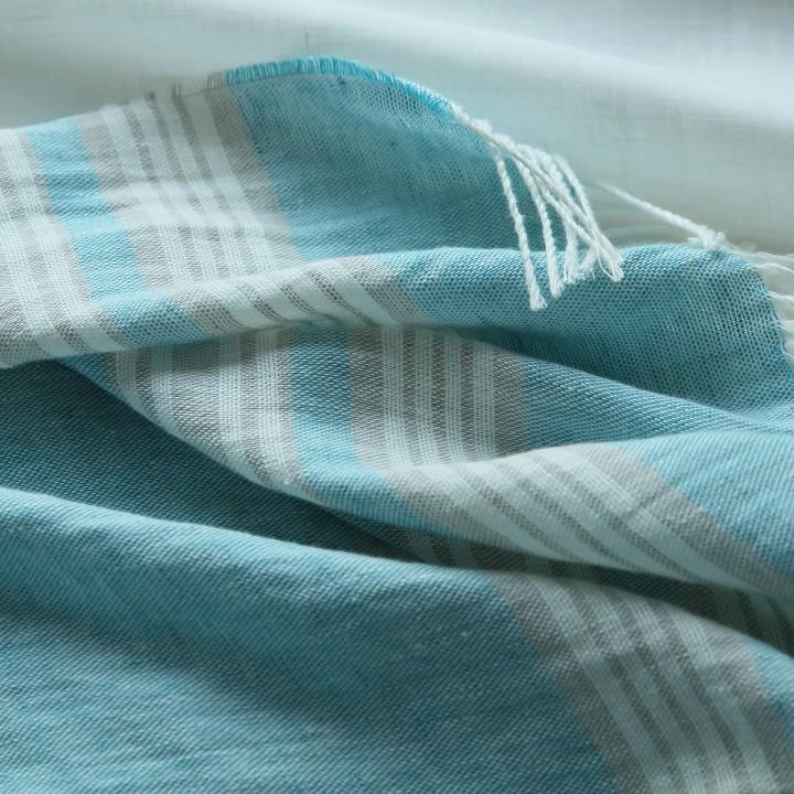 Sky Blue Linen Throw Felix