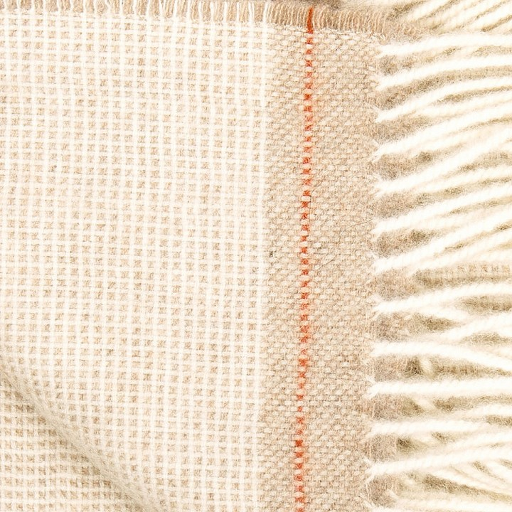 Everest Square - beige/rotes Kaschmir/Merinowollplaid