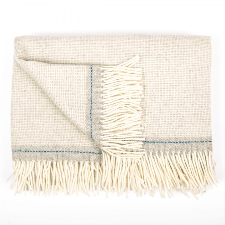 Silver/Blue Cashmere Merino Wool Throw Throw Everest Square