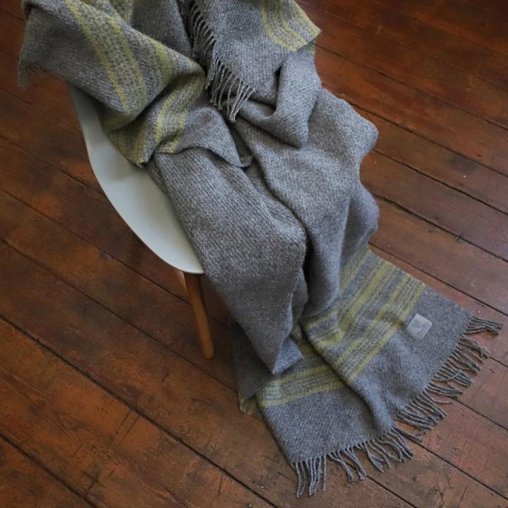 Grey Gold Wool Throw Federico