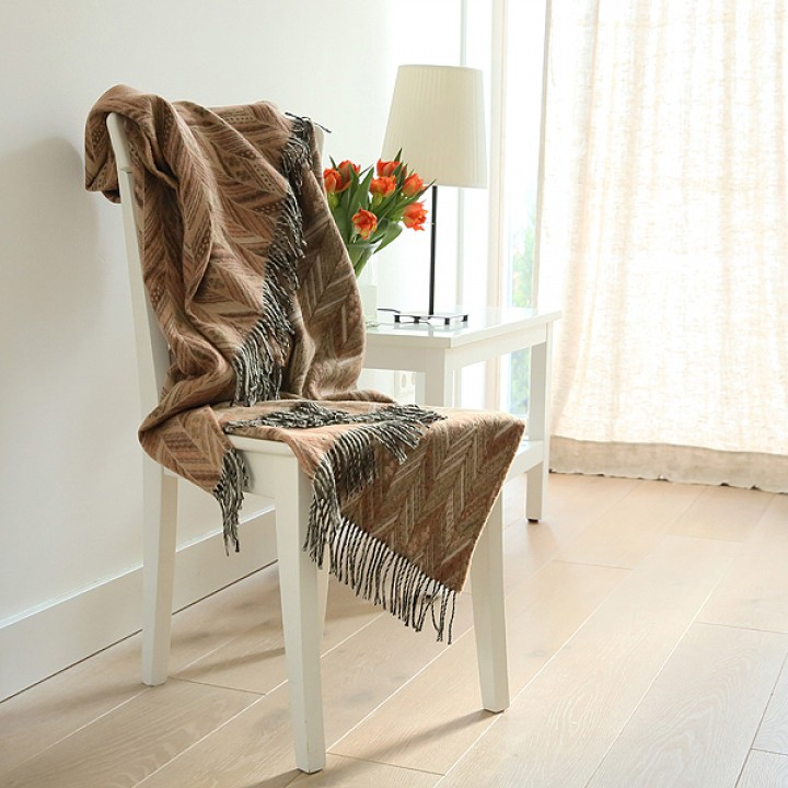 Merino Wool Throw Brown Marcello