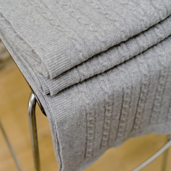Light Grey Merino Throw Alessandra