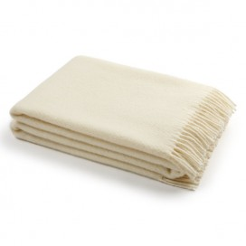 Ivory Pure New Wool Throw Paula
