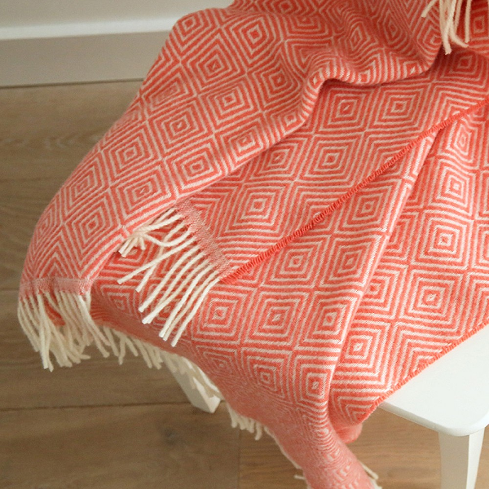 Coral Merino Wool Throw Rhomb Throws And Blankets Woolme