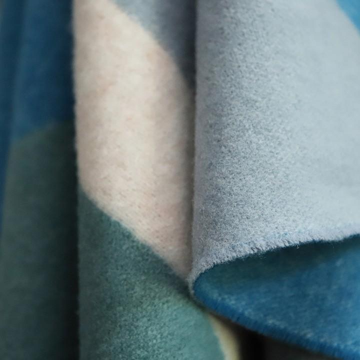 Marine Blue Spa Green Merino Wool Throw Marco