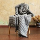 Silver Grey Pure New Wool Throw Paula Stripes