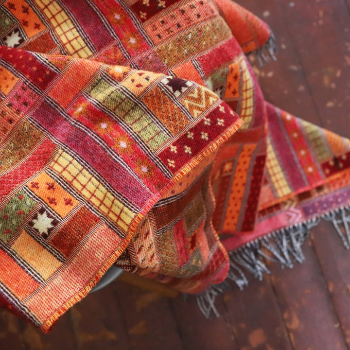 Red Orange Merino Wool Throw Marta