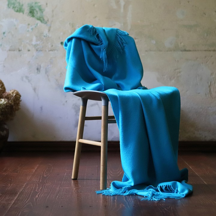 Turquoise Baby Alpaca Throw Bella