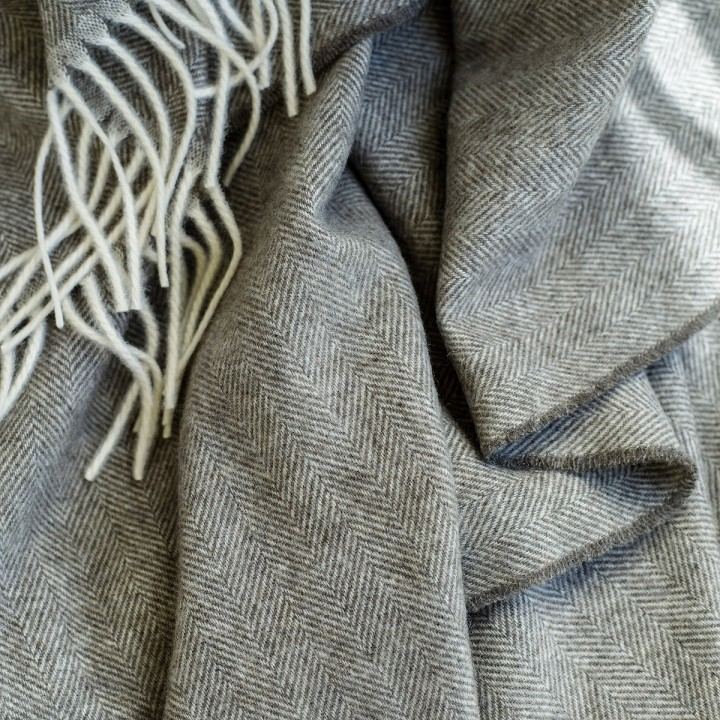 Brown Cashmere Throw Everest Herringbone
