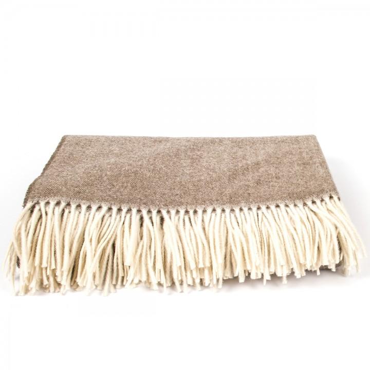 Brown Cashmere Throw Everest Herringbone