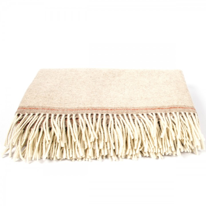 Beige/Red Cashmere Merino Wool Throw Everest Square