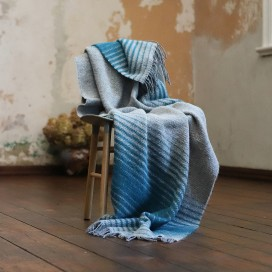 Grey Turquoise Wool Throw Alberto