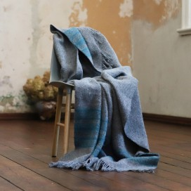 Grey Turquoise Wool Throw Federico
