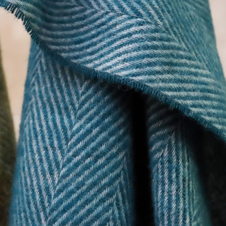 Turquoise Wool Throw Sergio