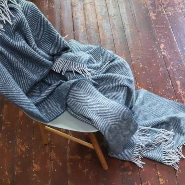 Dark Slate Wool Throw Sergio