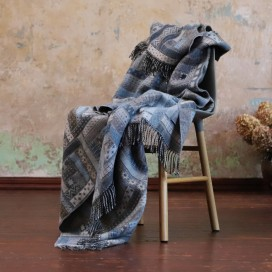 Blue Merino Wool Throw Marta