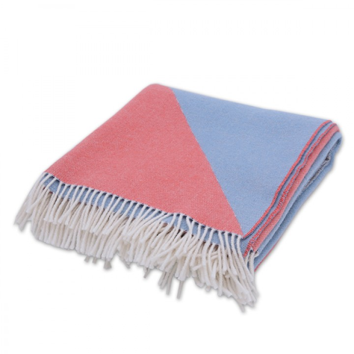 Stone Blue Coral Merino Wool Throw Marco