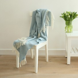 Stone Blue Merino Wool Throw Rhomb