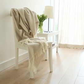 Beige Merino Wool Throw Rhomb