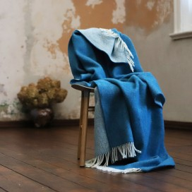 Marine Blue Wool Throw Roberto