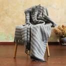 Silver Grey Pure New Wool Throw Paula Stripes