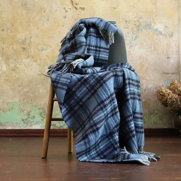Alpaca Wool Throw Leonardo Blue