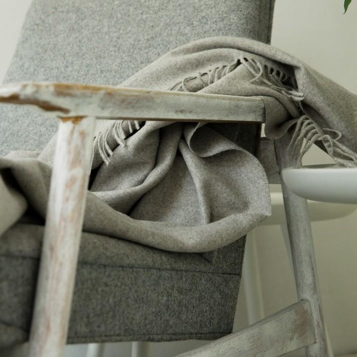 100% Cashmere Throw Everest Grey