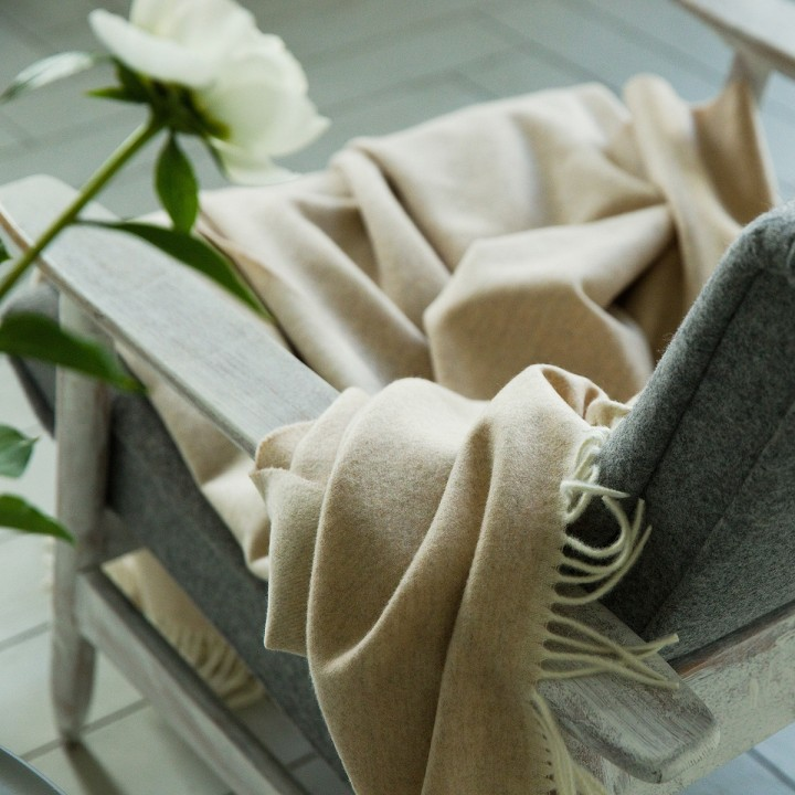 Cashmere Wool Throw Beige Ernesto