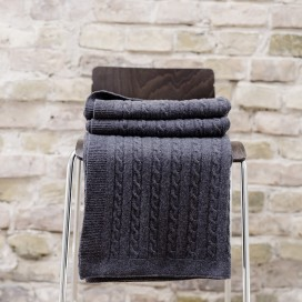 Charcoal 90% Merino 10% Poliamyd Throw Alessandra